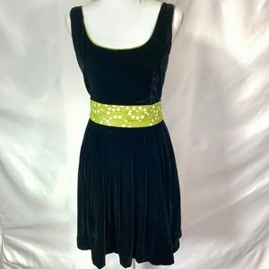 Corey Lynn Calter Dress Black Velvet tie waist
